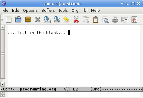 Emacs editor screen, ready to accept source code input