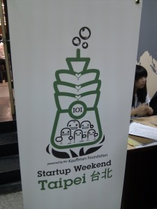 Board with the StartupWeekend Taipei logo