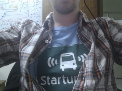 Wearing my StartupBus shirt for work today