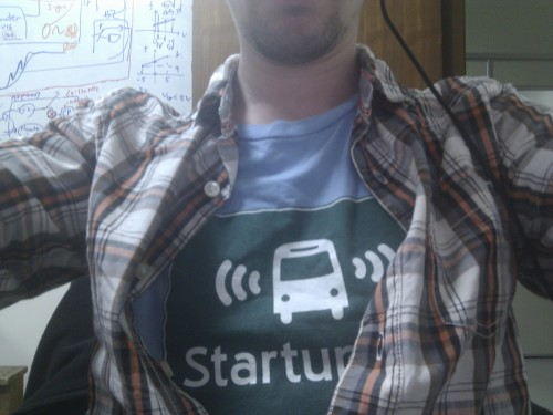 Wearing my StartupBus shirt for work today