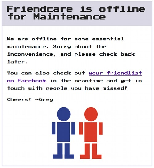 Friendcare is offline for maintenance