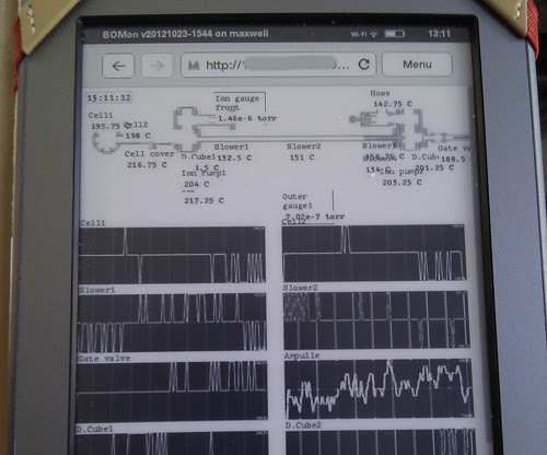 Bakeout Monitor interface running on Kindle