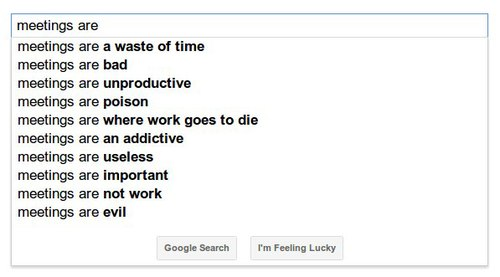 Google's suggestions for what meetings are
