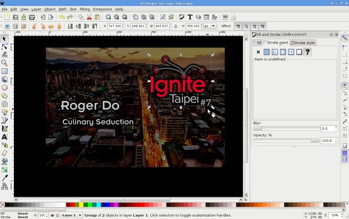 Editing window of Inkscape