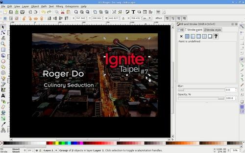 Editing window of Inkscape
