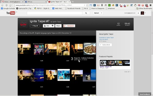 Youtube playlist window with all the uploaded videos
