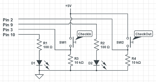 The (very basic) circuit for the check-in/out buttons and visual feedback LEDs