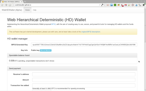 WebHDWallet main screen