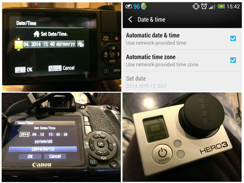 Setting the time on various cameras