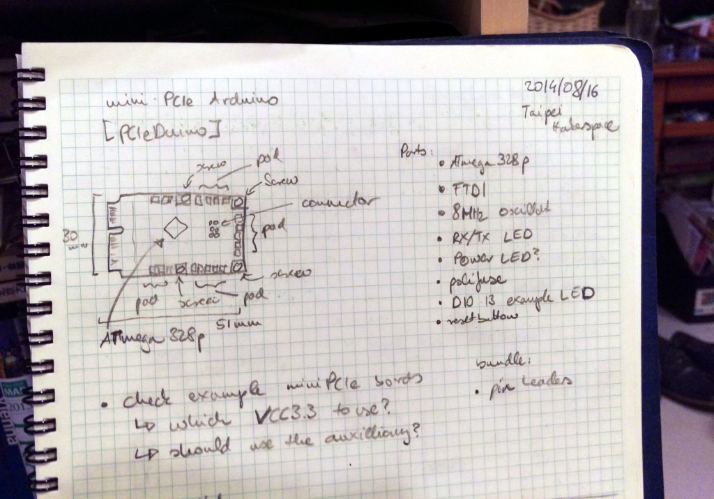 The original PCIeDuino sketch in my lab book