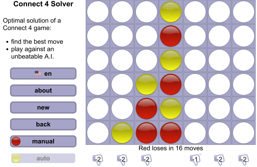 Screenshot of the Connect 4 solver website with a game that Red cannot win anymore, even though with perfect strategy Red would always win.